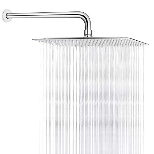 Sooreally 12 Inch Square Rain Shower Head High Pressure Rainfall Showerhead with 15 Inch Extension Arm, Stainless Steel Chrome Finish, Large Waterfall Full Body Coverage