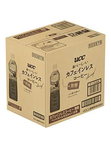UCCおいしいカフェインレスボトルコーヒー無糖ペットボトル930ml×12本