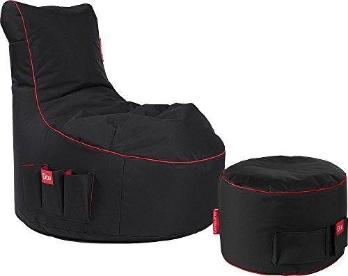 GAMEWAREZ Crimson Thunder 2.0 Gaming Sitzsack Set, Made in Germany, für PS4, XBOX360, XboxOne, Nintendo DS, Nintendo Switch, Smartphone. Schwarz mit rotem Keder, Tasche und Kopfhörerhalterung