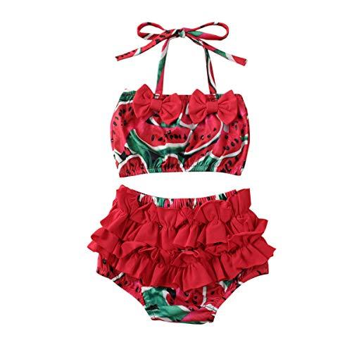 Traje de baño de 2 piezas conjunto de bikini para niña pequeña, verano lindo estampado de frutas traje de baño conjunto de ropa de playa
