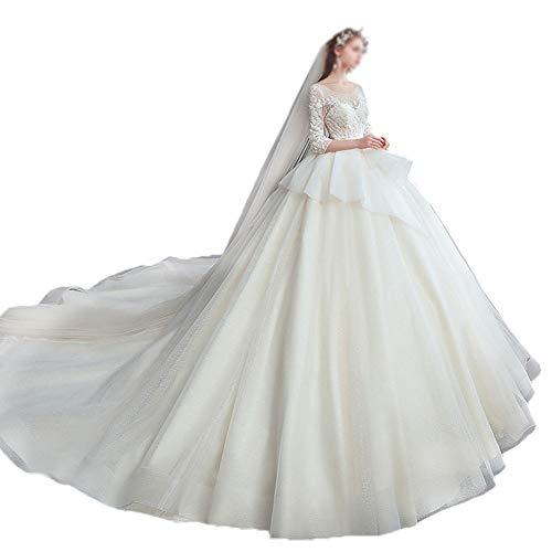MYW Kant geborduurde jurk effen kleur Onregelmatige rok Trailing Tail Bridal Decoration (Color : Light champagne, Size : XXXXL)