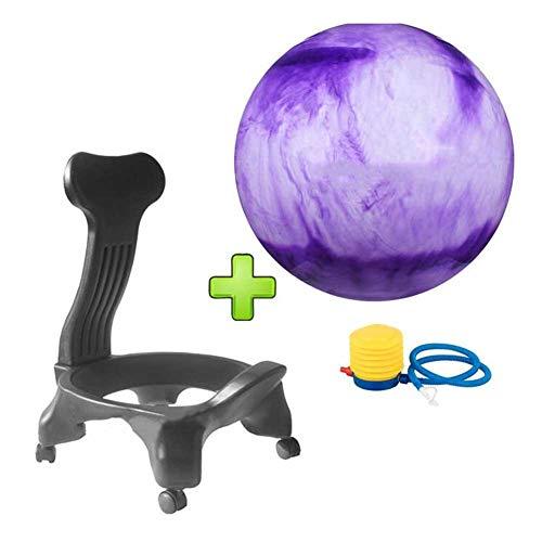 RR Silla De Masaje Móvil De Fitness Silla De Pelota De Yoga Asiento De Oficina En Casa Silla De Bola De Estabilidad Espesada A Prueba De Explosiones (Color : Purple, Size : 52 * 79cm)