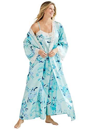 Amoureuse Women's Plus Size The Luxe Satin Long Peignoir Set Pajamas - 2X, Fresh Aqua Floral