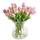 Chunqi Unechte Blumen,Künstliche Deko Blumen Gefälschte Blumen Blumenstrauß Seide Tulpe Wirkliches Berührungsgefühlen, Braut Hochzeitsblumenstrauß für Haus Garten Party Blumenschmuck 10 Stück (Rosa)