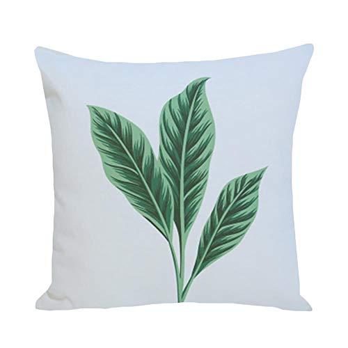Torey 1 funda de cojín cuadrada de alta calidad con estampado de hojas tropicales, funda de almohada decorativa muy suave de felpa con cremallera oculta para decoración del hogar.