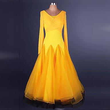 kekafu Ballroom Dance's Kleider Frauen Leistung Chinlon Organza Spleißen/Criss-Cross 1 Stück Langarm natürlichen Kleid, Gelb, S