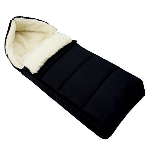 BAMBINIWELT universaler Winterfußsack (90cm), auch geeignet für Babyschale, Kinderwagen, Buggy, aus Wolle UNI liniert SCHWARZ