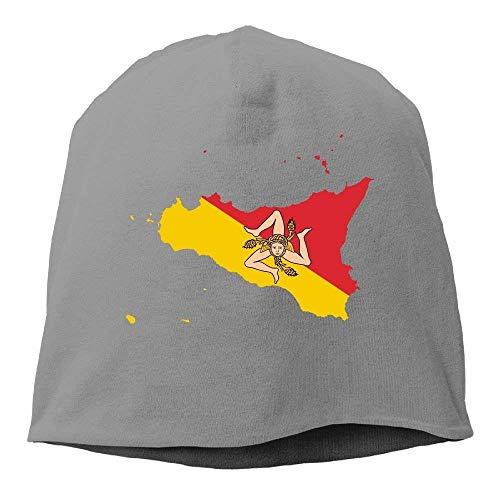 VTXINS Mode grappige Vlag Kaart van Sicilië Warm Stretchy Dagelijkse Beanie Hoed Schedel Cap Outdoor Winter