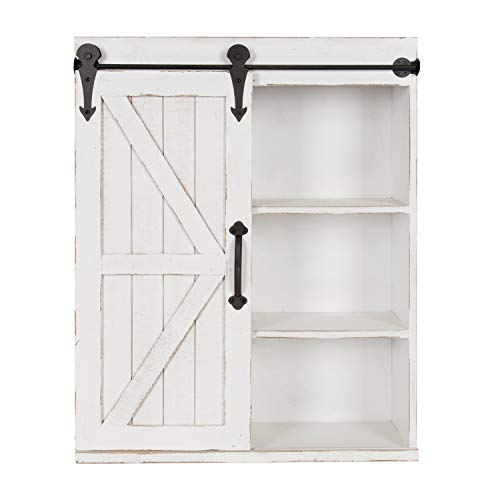 Kate and Laurel Cates Modern Farmhouse Wood Wall Storage Shelving Cabinet with Sliding Barn Door, Rustic White