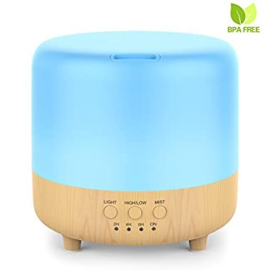 Essential Oil Diffuser, 500ml Aromatherapy Diffuser for Essential Oils Wood Grain Ultrasonic Aroma Diffuser Humidifier with Timer Set, Adjustable Mist Mode, Auto Water Shut Off and 7 Color LED Light