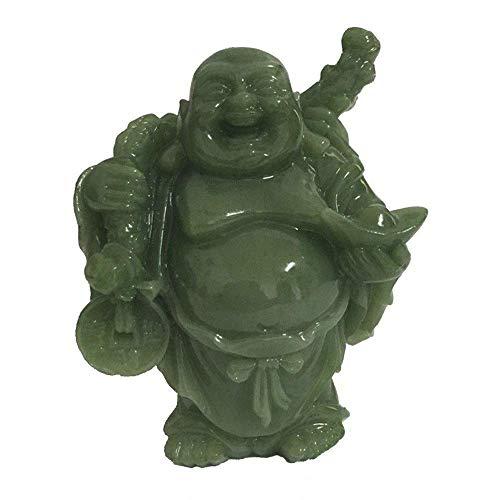 Ybzx Escultura de Estatua de Buda riendo, Adorno de la Suerte de Maitreya, Riqueza Hecha por el Hombre Piedra de Jade decoración del hogar artesanía Feng Shui