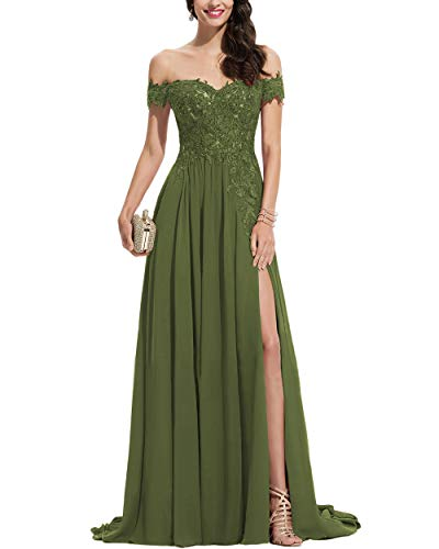 Noras dress Women's Off Shoulder Long Prom Dresses with Split Lace Appliques Chiffon Formal Evening Party Gown Olive Green 12
