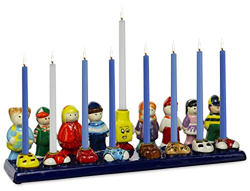 Rite Lite ''Friends'' Hanukkah Menorah - Handprinted Ceramic Chanukah Menorah 3.50' h