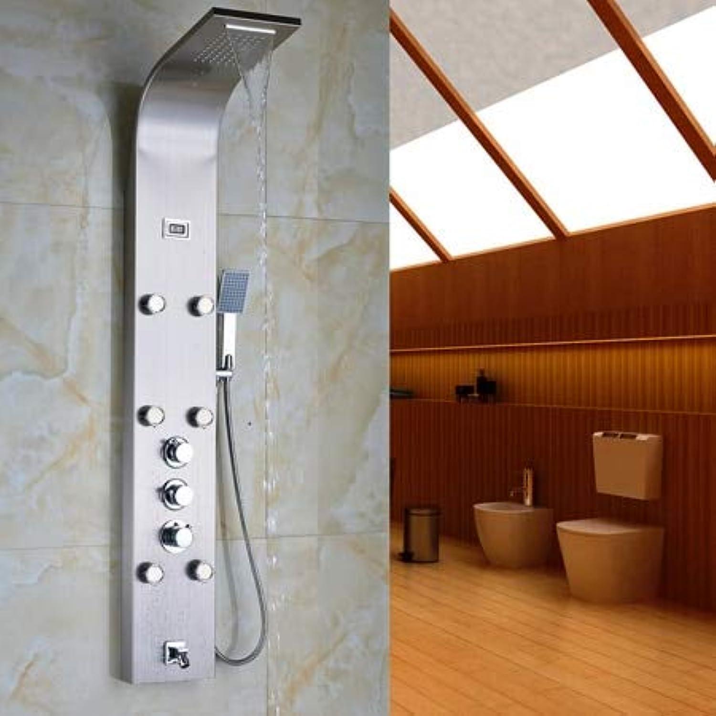 Regenduschsulenverkleidung aus Edelstahl mit Massagedüsensystem & Handbrause & Wanneneinlauf-Turm-Brausenmischerset im Thermostatstil