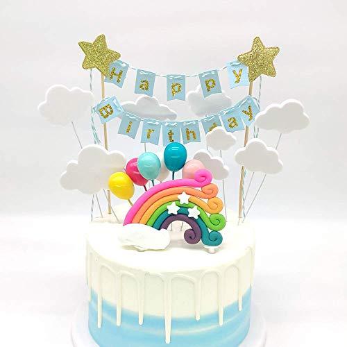 SNOWZAN Regenbogen Luftballons Wolken Kuchen Topper Rainbow Cloud Moon Star Ballon Tortendekoration Geburtstag Kuchen Cake Dekoration Baby Shower kuchendeko Kuchen Hochzeit Party tortendeko mädchen