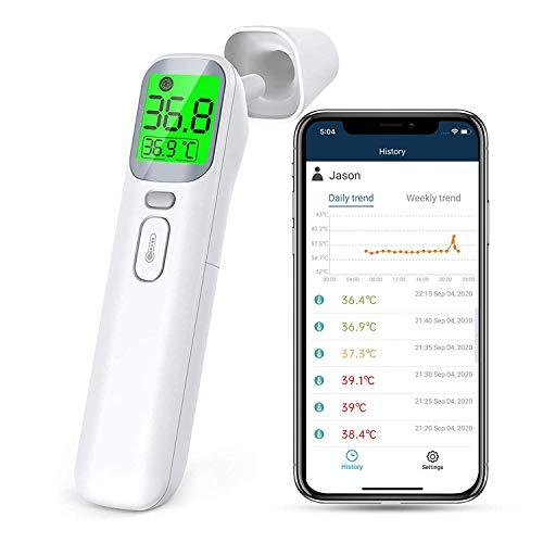 ViATOM Termómetro sin Contacto, con Bluetooth APP, Termómetro Infrarrojos, Termómetro Frontal y Auriculare para Bebés, Niños y Adultos, Función de Memoria, Alarma de Fiebre y lecturas en tiempo real