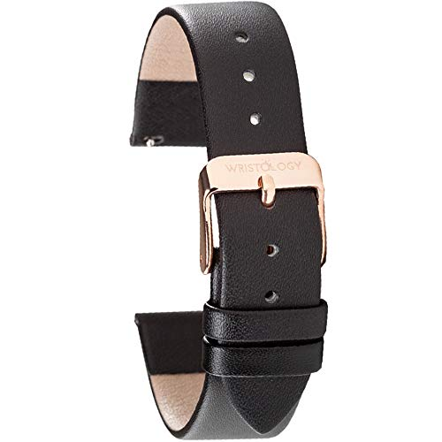 Wristology Black Leather 18mm Watch Band - Quick Release Easy Change Mens | Womens Strap