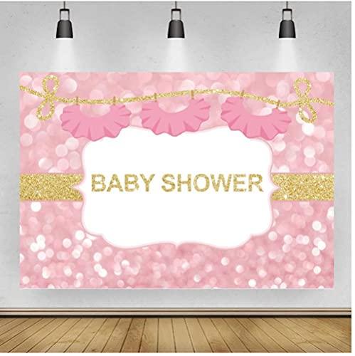 Rosa Luz Bokeh Baby Shower Fotografía Fondos Tendedero Vestidos Decoración Niña Princesa Cumpleaños Banner Telones de Fondo Vinilo 1.5 x 2.1 m