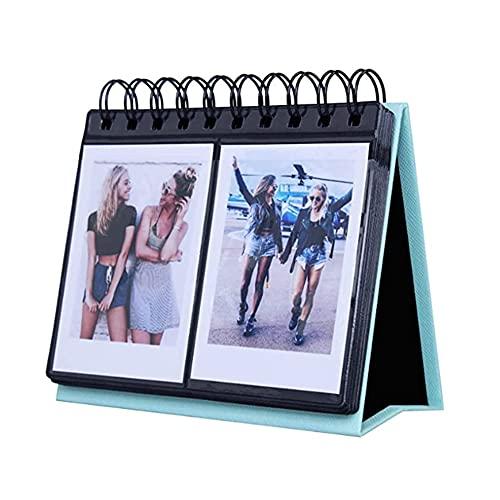 HAOXIU Calendario de mesa de 7,6 cm, soporte para libros de espiral, 68 bolsillos, para escritorio, álbum de fotos, funda protectora