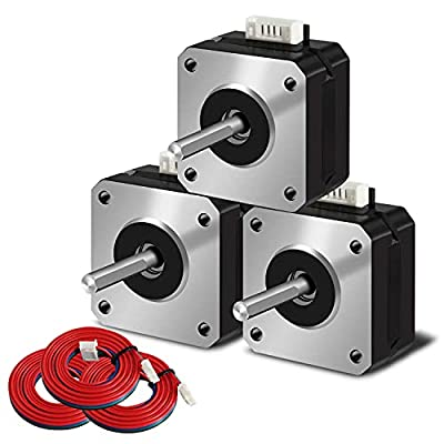 SIMAX3D Nema 17 stepper motor 3pcs 42x23mm 1.5A 2 phase 4 wires 1.8 degrees with 39.3 inch cable for Creality CR-10 10S Ender 3 3D printer/CNC extruder and Y-axis
