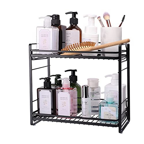 ZCCZ Bathroom Organizer Countertop, 2-Tier Kitchen Bathroom Countertop Storage Shelf, Standing Cosmetic Organizer Holder Vanity Tray Kitchen Spice Rack Shower Caddy, Black