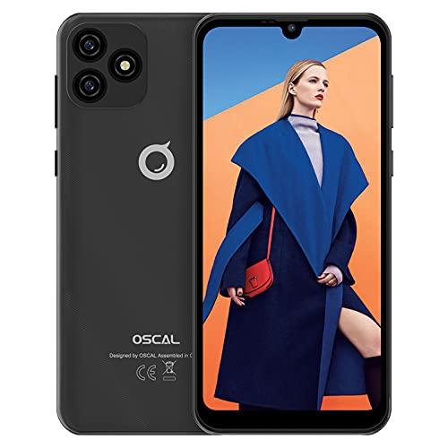 "Smartphone Pas Cher, OSCAL C20 Smartphone Débloqué (32Go ROM/SD-128Go Quad-core, Ecran Waterdrop 6.1""+HD, 3380mAh, 3G Dual SIM,5MP+2MP) Android11 Telephone Portable, Face-ID/WiFi/2Ans de Garantie-Noir"