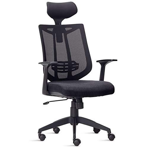 Cadeira de Escritório Presidente Executiva Office Aika Tela Mesh Tecido Preto - Lyam Decor