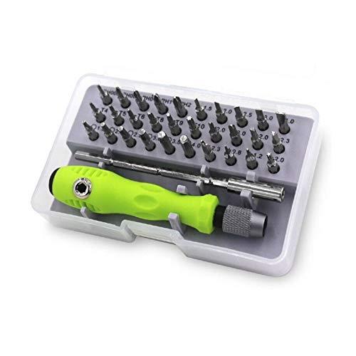 JUNCH Juego de destornilladores de precisión 32 en 1, juego de brocas magnéticas, herramientas de mano para herramientas de reparación del hogar, color gris y verde