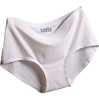 Jeash Women's Everyday Shaping Seamless Panty High Waist Invisible Seamless Bikini Lace Underwear (White, M)
