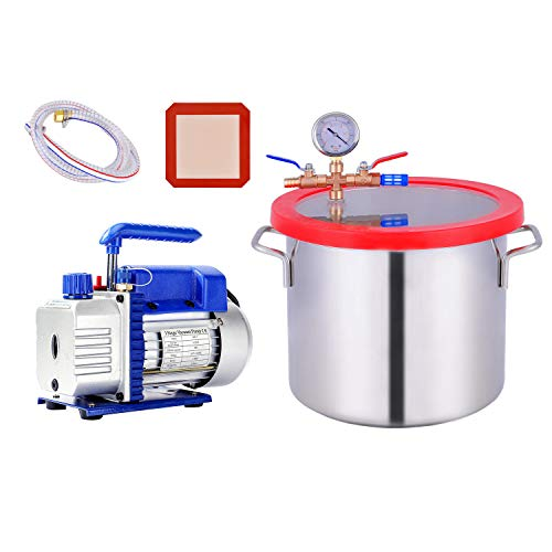 2 Gallon Vacuum Chamber, Heavy Duty Stainless Steel Degassing Chamber Kit with Upgraded 3 CFM 1/4HP Vacuum Pump (3CFM Pump Without Oil + 2Gallon Vacuum Chamber Not for Stabilizing Wood)
