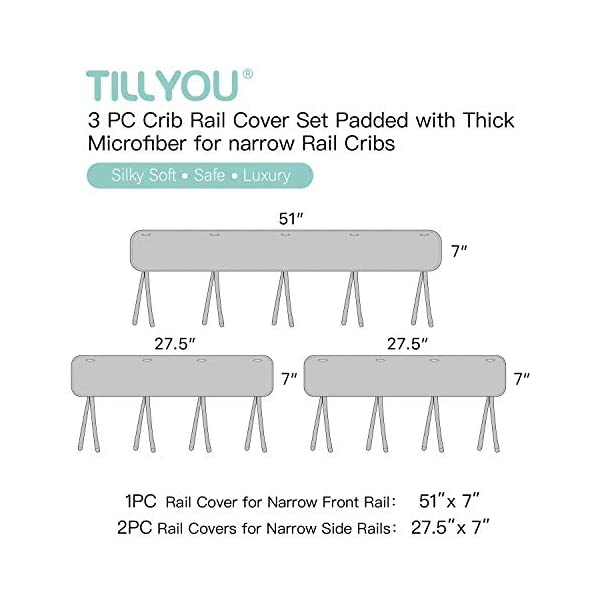 TILLYOU 3-Piece Padded Baby Crib Rail Cover Protector Set from Chewing, Safe Teething Guard Wrap for Standard Cribs, 100% Silky Soft Microfiber Polyester, Fits Side and Front Rails, Pale Gray