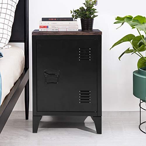 Metall-Bodenschrank, MDF-Platte, freistehender Schrank, seitlicher Stauraum, Organizer, Schrank mit 2 Etagen für Zuhause, Büro, Arbeitszimmer, Schlafzimmer, Wohnzimmer