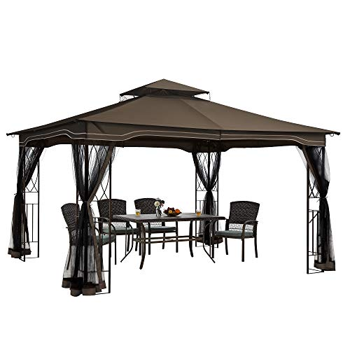 PAMAPIC 12x10 Gazebo Canopy Tent, for Sun and rain with Skylight and...