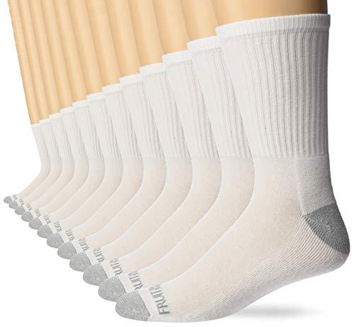 Fruit of the Loom Men's Dual Defense Crew Socks 12 Pair, White/Grey, Shoe Size: 6-12