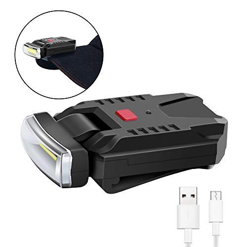 FISHNU COB 5Wクリップオンキャップランプ、USB充電式クリップメイトウルトラブライトキャップ投光器、ワイドカバーエリアベースボールハットランプ、1.23oz、タイトクリップ、赤いリムデザインポケットサイズ