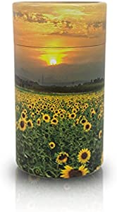 OneWorld Memorials Sunflower Fields Paper Biodegradable Urn for Spreading Ashes - Extra Small - Holds Up to 20 Cubic Inches of Ashes - Yellow Biodegradable Cremation Urn
