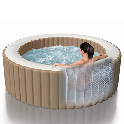 Intex Whirlpool für 4 Personen mit 120 Sprudeldüsen Aufblasbar Indoor Outdoor Pool Wellness Heizung Massage PVC Beige Rund 196x71cm