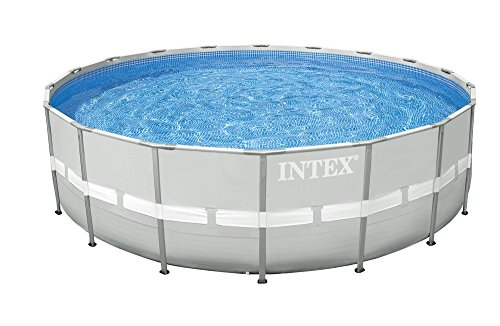 Intex 28336 Pool Ultra Frame rund 549 x 132 cm I.1, Pumpe Sand Combo, Leiter Doppel Badetuch, Base, Abdeckplane, Kit Puli Deluxe, set Volley