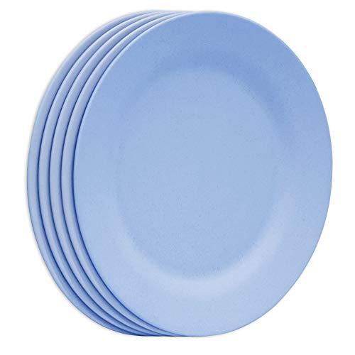 Juego de platos de cena de 28 cm, platos extra grandes, platos irrompibles, vajilla ligera de paja de trigo, vajilla de postre de fibra reutilizable (azul)
