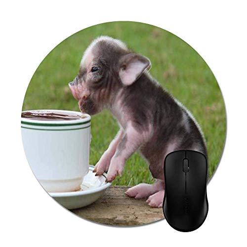 Baby Schwein Geschmack Kaffee Optimale Gleitfähigkeit Mausmatte,Gummiunterseite Maus Pad,Schreibtischunterlage,Runde Mausunterlage,20CM