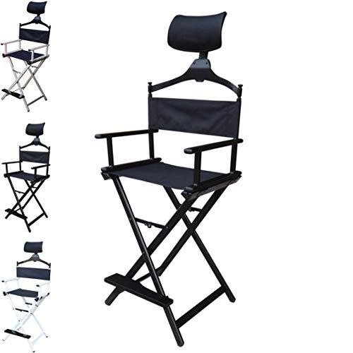 Floreo Look Profi Make-up Stuhl schminkstuhl regiestuhl klappstuhl Aluminium Maskenbildner (Schwarz)