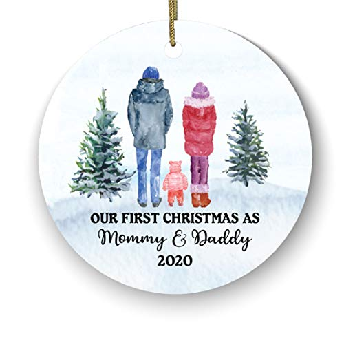 Our First Christmas As Mommy and Daddy Family of 3 Christmas Ornaments - Baby New Mommy Daddy Mom Dad Family of 3 Ceramic Porcelain Ornament - Family of 3 Ornaments - Snow Watercolor