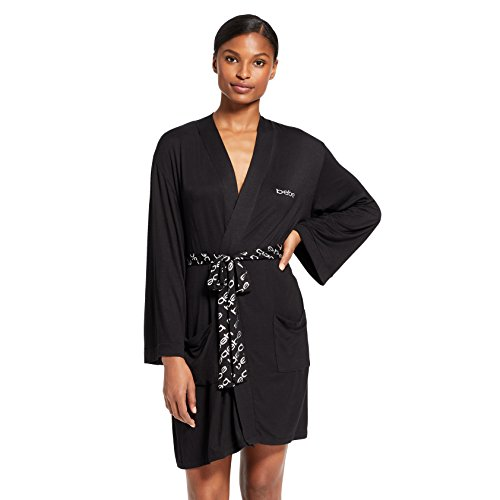 bebe Womens Long Sleeve Belted Bathrobe With Pockets Black X-Large