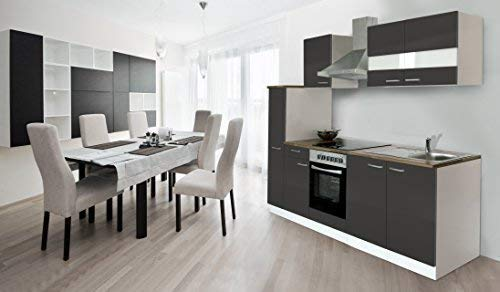 respekta Küche Küchenzeile Einbauküche Küchenblock 240 cm Weiss grau Soft Close Ceran