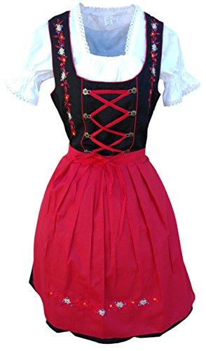 Dirndl-s Di06rs 3pcs. Size 6, Women Oktoberfest drindle-s Dress-ES Costume-s Red Black