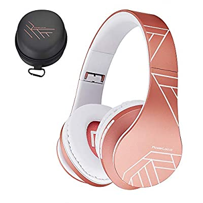 PowerLocus Bluetooth Over-Ear Headphones, Wireless Stereo Foldable Headphones Wireless and Wired Headsets with Built-in Mic, Micro SD/TF, FM for iPhone/Samsung/iPad/PC (Rose Gold) from Powerlocus