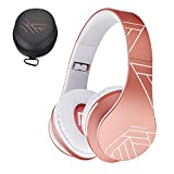 PowerLocus P2 – Auriculares Bluetooth inalambricos de Diadema Cascos Plegables, Casco Bluetooth con Sonido Estéreo Micro SD/TF, FM con micrófono y Audio Cable para Movil, PC, Tablet - Oro Rosa