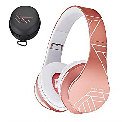 small PowerLocus Bluetooth on-ear headphones, wireless foldable stereo headphones, wireless and wired …