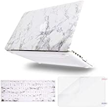 MOSISO MacBook Pro 13 inch Case 2015 2014 2013 end 2012 A1502 A1425, Plastic Pattern Hard Shell Case & Keyboard Cover & Screen Protector Compatible with MacBook Pro Retina 13 inch, White Marble