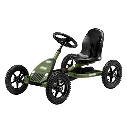 Juguetes y Juegos/Aire Libre y Deportes/Bicicl Army Green Kart Boy Karting Kart Jeep de Cuatro Ruedas Juguete Carreras Carreras Diseño del Volante Asiento 3 Ajustable, Carga máxima 50 KG